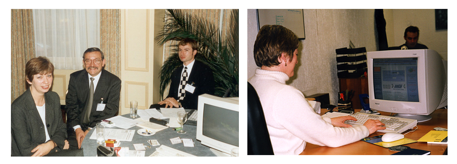 Left: Coleen, John and Peter in 1997. Right: Jenny hard at work!