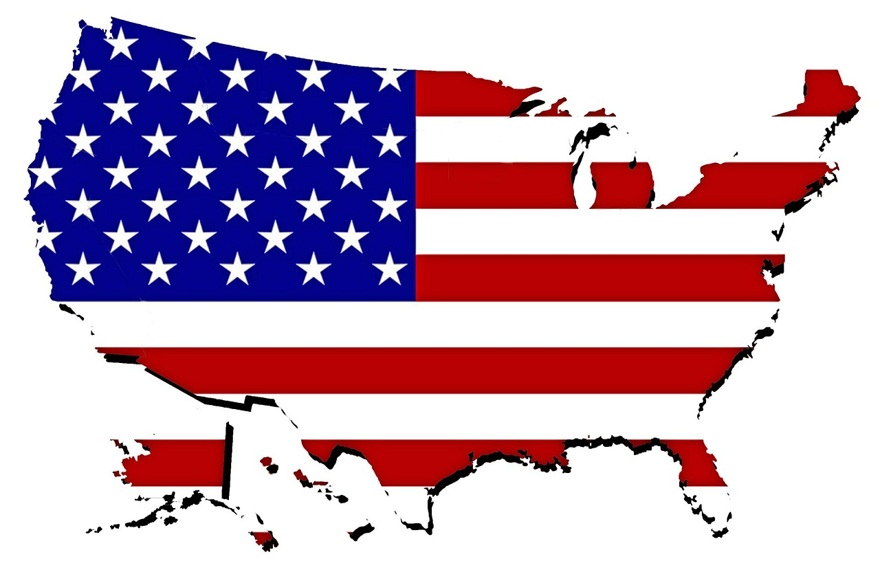 Map of America filled by American flag