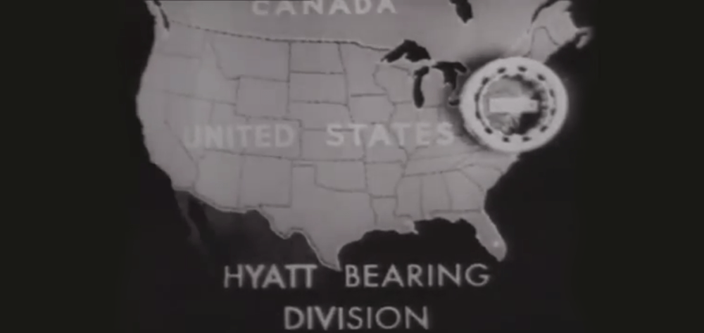 Still from a Hyatt Bearing vintage ad