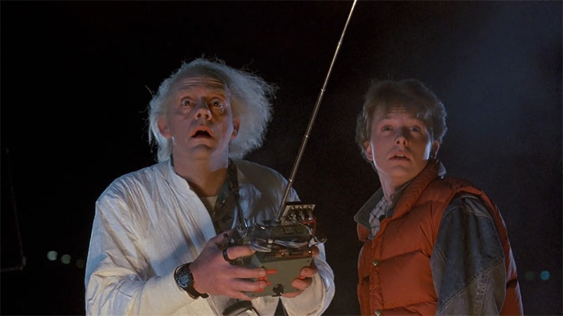 Photo of Doc and Marty McFly in Back to the Future