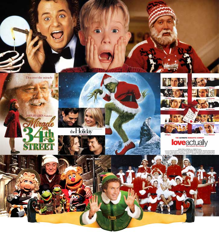 A selection of Christmas movies posters in a collage