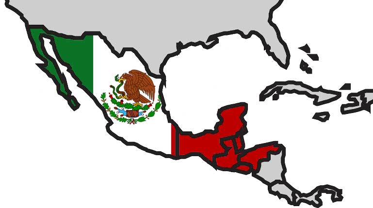 A map of Mexico with the country filled in with its national flag