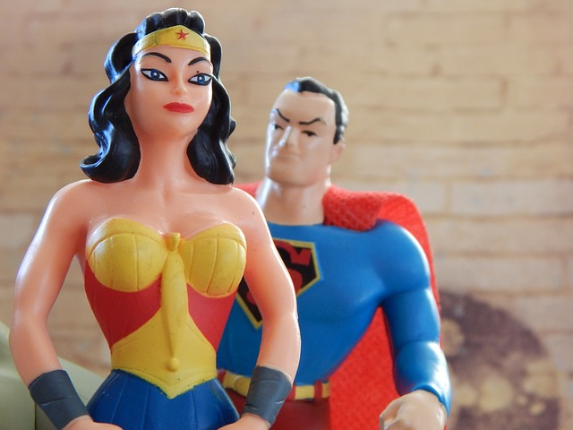Wonder Woman and Superman toys