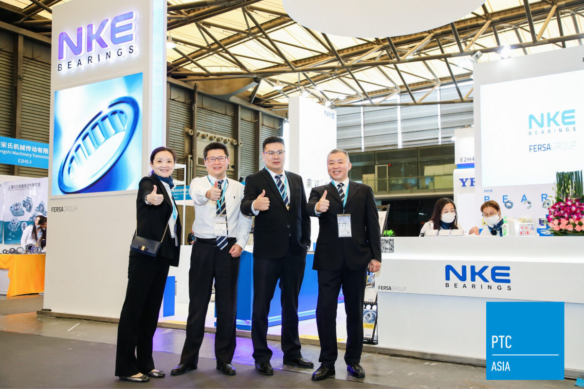 Hansen Mao (second from left), General Manager at NKE (Shanghai) Bearing Sales, with part of NKE's sales team at PTC Asia, Shanghai